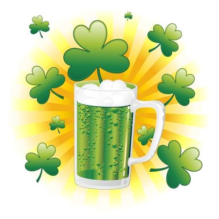 St Patrick Green Beer Mug with Shamrock Stock Vector - 17151884