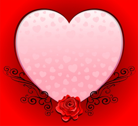 Pink Love Heart Romantic Frame with Red Rose Stock Vector - 17191564