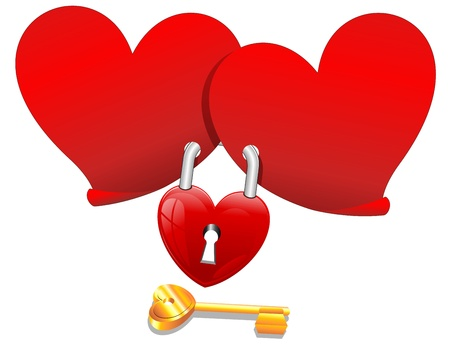 Locked Love Hearts with Padlock  Vector