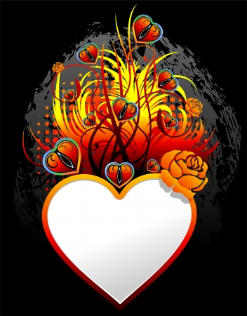 Be my Valentine Fire Heart Love Card Vector