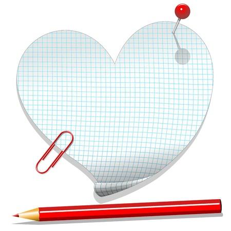 Coeur Love Message Notebook papier quadrillé