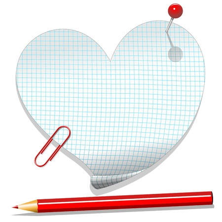 Mensaje de amor del Corazón de papel de cuaderno a cuadros