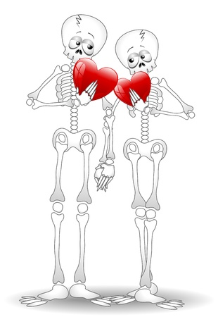valentine's: Skeletons Cartoon Lovers Couple Valentine s Day Illustration