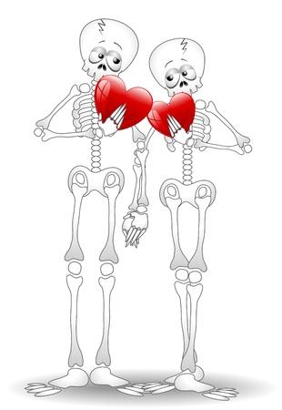 Squelettes Cartoon Couple amoureux Valentin Illustration