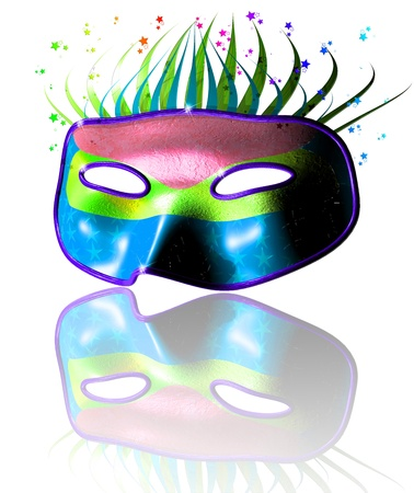 purim: 3D Carnival Purim Festival Party Colorful Mask Stock Photo