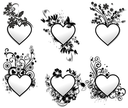 Love Hearts Tattoo Ornamental Frames Set Vector