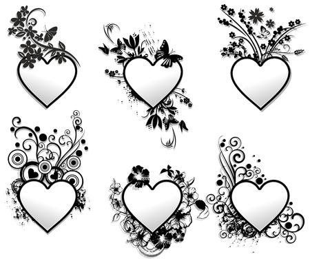 Love Hearts Tattoo Ornamental Frames Set