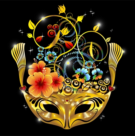 Golden Carnival Party Mask With Hibiscus Flowers Vector