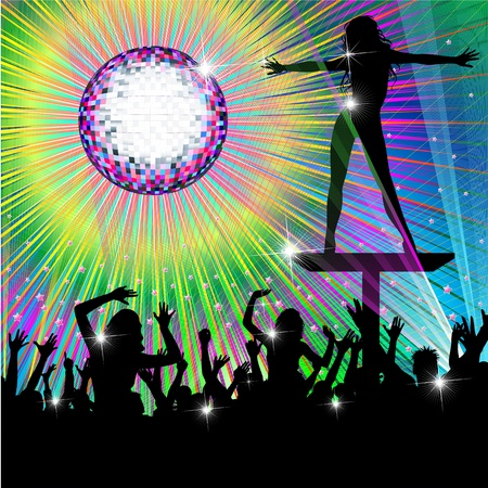 Psychedelic Discotheque Dance Party Vector