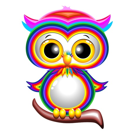 Rainbow Baby Owl Cartoon Vector