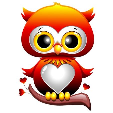 hibou: Baby Owl Cartoon Love Heart Illustration