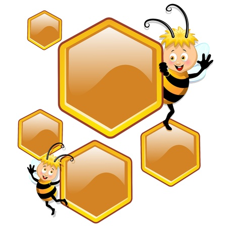 Bee Cartoon with Beehive Cells Vector