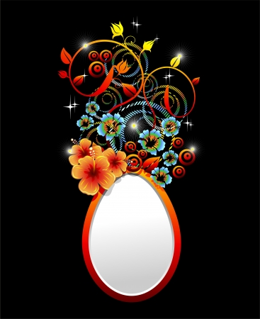 Easter Egg with Ornamental Hibiscus Flower Design Stock Vector - 17717222