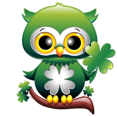 owl cartoon: Baby Owl St Patrick Cartoon
