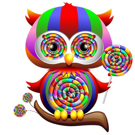 Owl Psychedelic Rainbow Lollipop