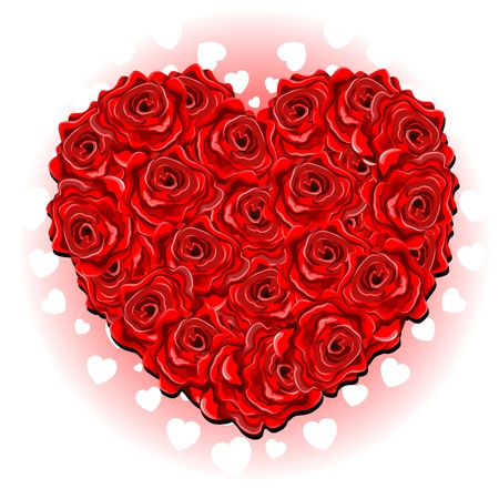 Be my Valentine Red Roses Love Heart Bouquet Stock Vector - 17717230