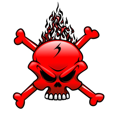 Red Fire Skull Clip Art Tattoo Vector