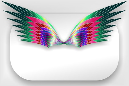 Abstract Wings Design on White Label Vector