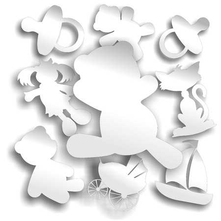 adhesive: Baby Kids Objects White Stickers Labels  Illustration