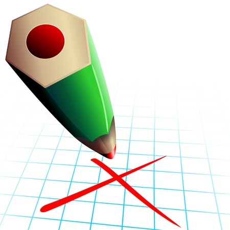 examiner: Red Pencil Test Election Day Vote Illustration