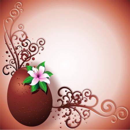 lilium: Chocolate Egg Easter Greeting Card Background Illustration