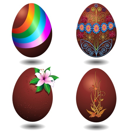 Chocolate Easter Eggs Decorated Stock Vector - 17843004