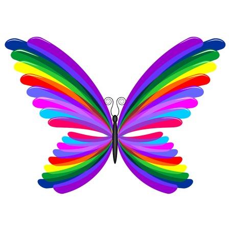 rainbow abstract: Butterfly Rainbow Abstract Design Illustration