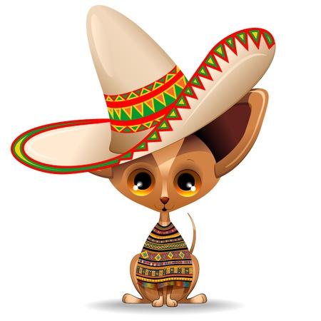 大きなソンブレロとメキシコ チワワ子犬犬の漫画