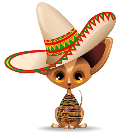 mexican folklore: Mexico Chihuahua Puppy Dog Cartoon with big Sombrero Illustration