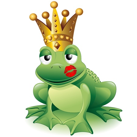 Prince Frog Cartoon Clip Art with Princess Kiss Vector