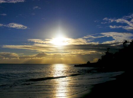 martinique: Beautiful Sunset on Peaceful Tropical Beach