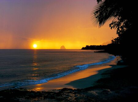 martinique: Sunset on Tropical Beach Stock Photo