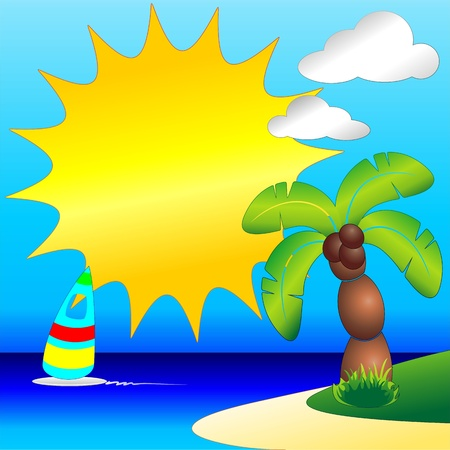 Palm Tree on Tropical Beach Clip Art Vector