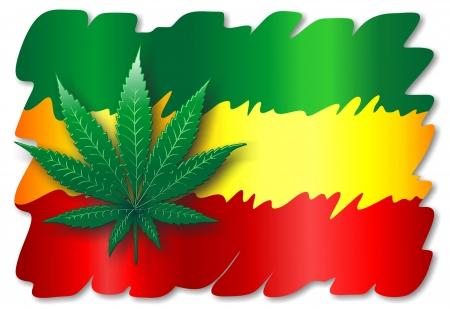 a bob: Bandera Rasta con Hoja de Cannabis Vectores