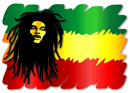 Reggae Singer on Rasta Colors Flag Vector