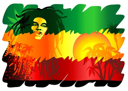 Reggae Singer Exotic Flag Rasta Colors Poster  Illustration