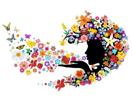Souffle de printemps Fleurs Mère Nature Portrait Vecteurs