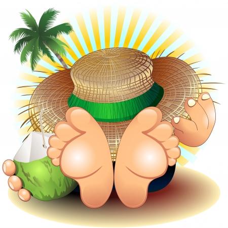 sombrero de paja: Relax vacaciones de verano en la playa