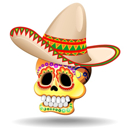 mexican folklore: Sugar Skull Calaveras with Sombrero Illustration