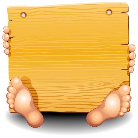 joinery: Pannello in legno con mani e piedi