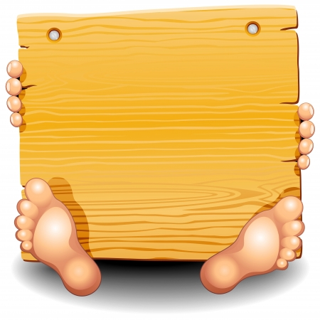 Wooden Panel with Hands and Feet Vector