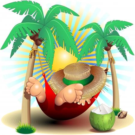 summer: Relax экзотический отдых на летних картинок Гамак Иллюстрация