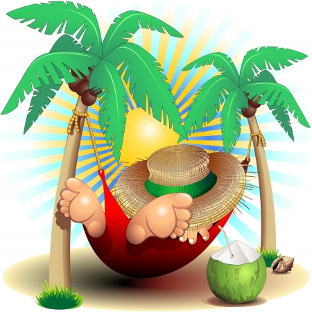 hammock: Relax Exotic Summer Holidays on Hammock Clip Art Illustration