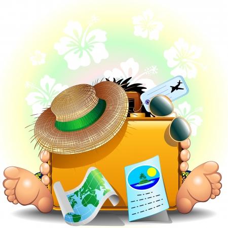 reiziger: Reiziger met koffer voor de zomer vakantie