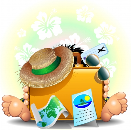 Traveler with Suitcase for Summer Holidays Vector