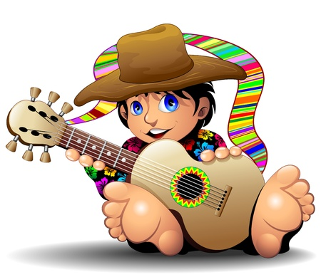 Hippie Boy Cartoon playing Guitar Vector