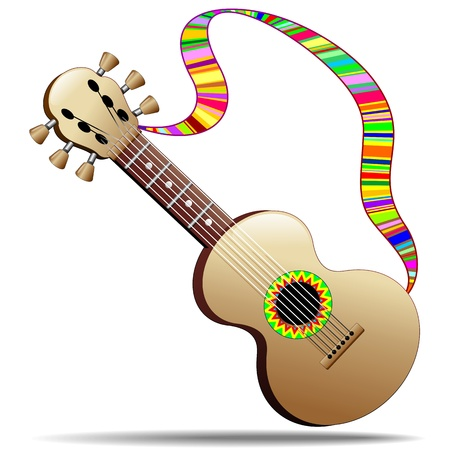Hippie Cool Guitar Musical Instrument Vector