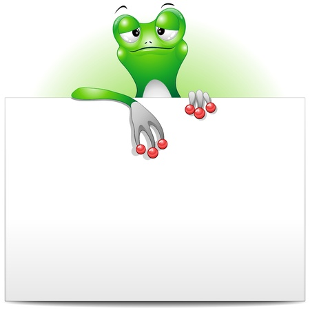 Frog Cartoon Character with White Panel Çizim