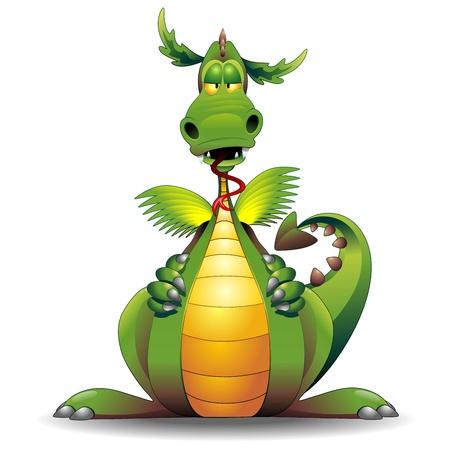 Caract�re dragon dr�le de bande dessin�e Illustration