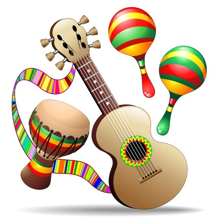 Guitar Maracas and Bongo Musical Instruments Illustration